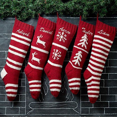 5 Christmas Stockings Hand Knit Red Wool Personalized. Update your holiday decor with our set of 5 traditional hand knitted Christmas stockings. PERSONALIZED for everyone in your family! Our Christmas stockings are made the old fashion way, each one is knit by hand using high quality wool yarns. Our Christmas stockings are generously sized. They measure (flat) 7 inches in width and 24 inches from toe to cuff.** All of our Christmas stockings point in the same direction: like an L. Sorry…