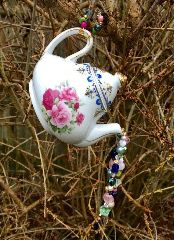 Repurposed Tea Pot Mobile Sun Catcher Hanging Garden by mscenna