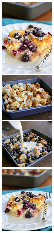 Blueberry Croissant Puff - un delicioso plato de desayuno durante la noche que cada uno amará.  the-girl-who-ate-everything.com