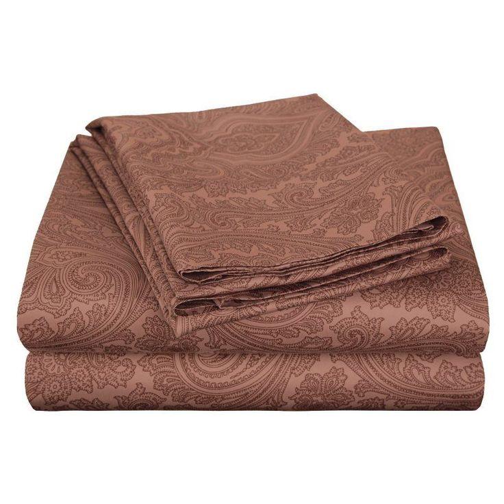 Superior Cotton Rich 600TC Italian Paisley Sheet Set Chocolate - CR600XLSH IPCH