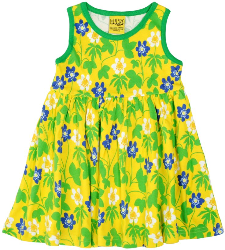 Wood Anemone Yellow Sleeveless Dress with Gather Skirt in Organic Cotton from DUNS Sweden, availabe at Modern Rascals