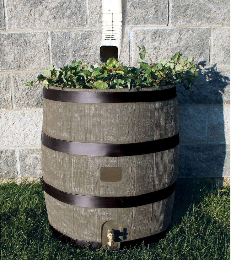 Amazon.com: RTS Home Accents Round 35-Gallon Rain Barrel with Brass Spigot and Built-In Planter, Woodgrain: Patio, Lawn & Garden