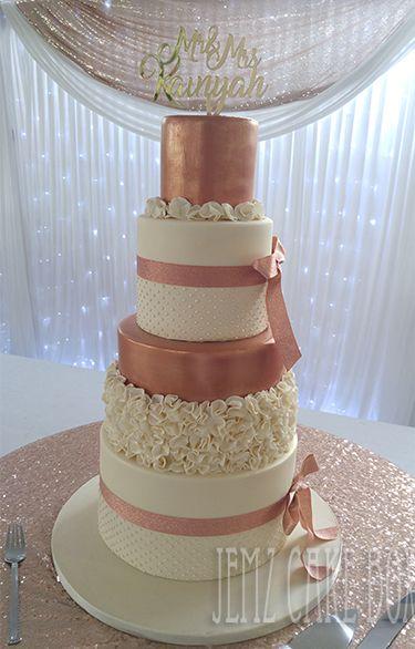 Rose Gold Ivory Ruffle Wedding Cake Designed And Made By Jemz Cake