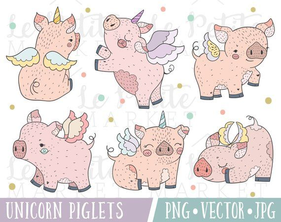 Flying Piglets Clipart Set Cute Unicorn Piglets Clip Art Etsy Pig Clipart Pig Illustration Clip Art