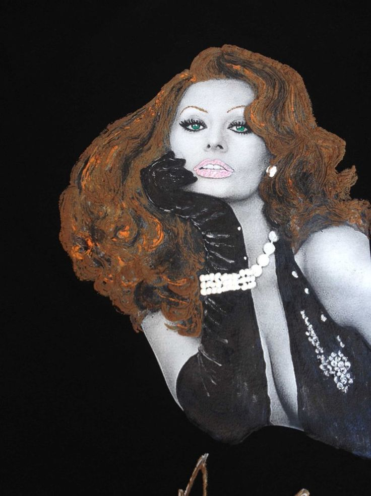 Sophia Loren T-shirt  Art Work Painting 3d  Made in Italy