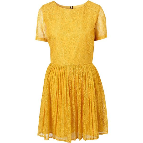 TOPSHOP Mustard Lace Piped Skater Dress UK 10 EUR 38 US 6 BNWT RRP 60 ❤ liked on Polyvore featuring dresses, skater dress, topshop dresses, yellow dress, yellow skater dress and mustard yellow lace dress