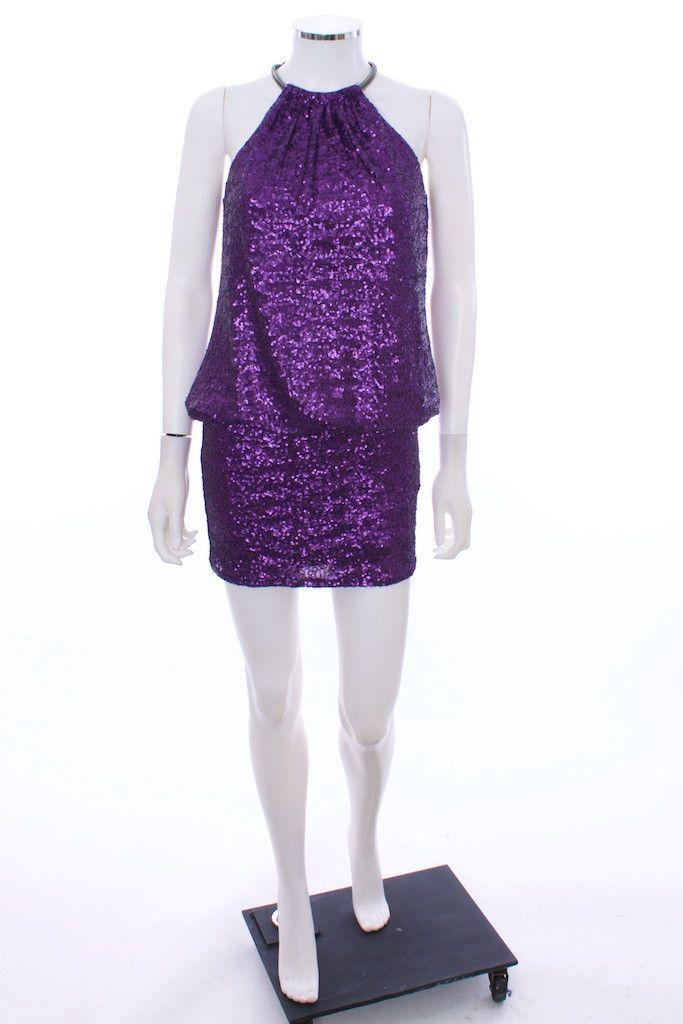Laundry By Shelli Segal Halter Mini Dress Purple Sequin Size 2