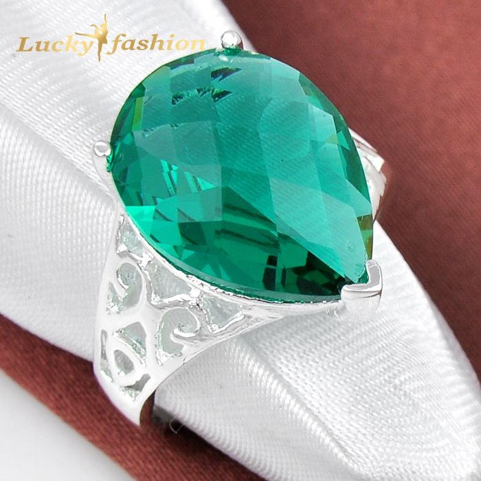 Fashion Promotion Jewelry Drop Green Quartz Silver Plated Wedding Rings Russia USA Holiday Gift Rings Australia Rings