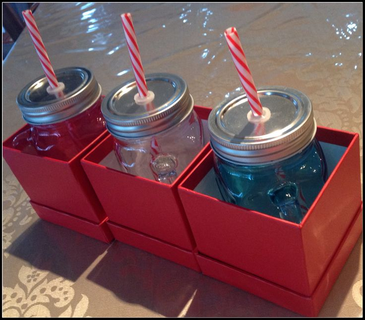 Red & White Christmas Theme   Mason Jars with straws in Red gift Boxes  www.facebook.com/MariasDesignerCreations.