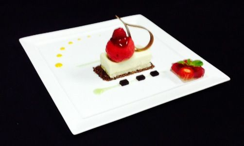 White Ivory Chocolate Bavarois with Almond Dacquoise,Black sesame Tuille & Raspberry Shorbet