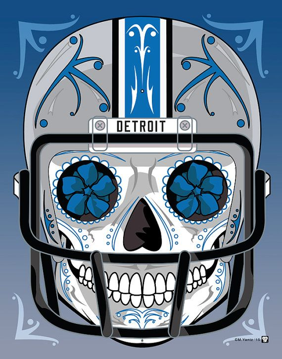 """Detroit Lions"" Sugar Skull Day of the Dead Calavera Print Inspired by the professional football team"