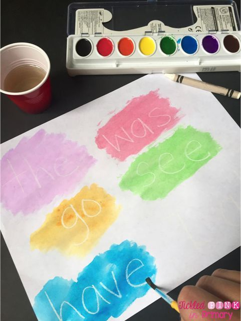 10 Ways to Practice Sight Words - write sight words in white crayon and students can watercolor over the word then read the mystery word