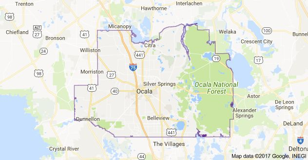 Map of Marion County, FL