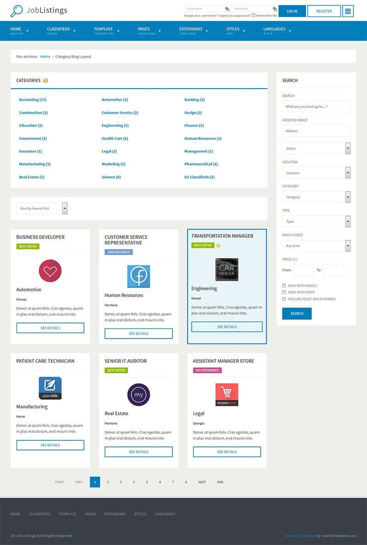 JM Job Listings - template for Joomla 3.x The template is based on EF4 powerful framework. Responsive layout, integrated with Bootstrap + LESS support.  Business directory listings.   Template details: https://www.joomla-monster.com/all-products/i/133-jm-job-listings Demo site: http://templates.joomla-monster.com/joomla30/jm-job-listings/versions/