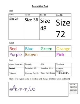 This is a great tool for introducing young students to formatting font in Microsoft Word. Students will practice formatting size, color, and font style. There is also a task that has students apply all three to thier name. This product comes as a zipped file that has a .docx and .doc(for MS Word 97-2003) file.