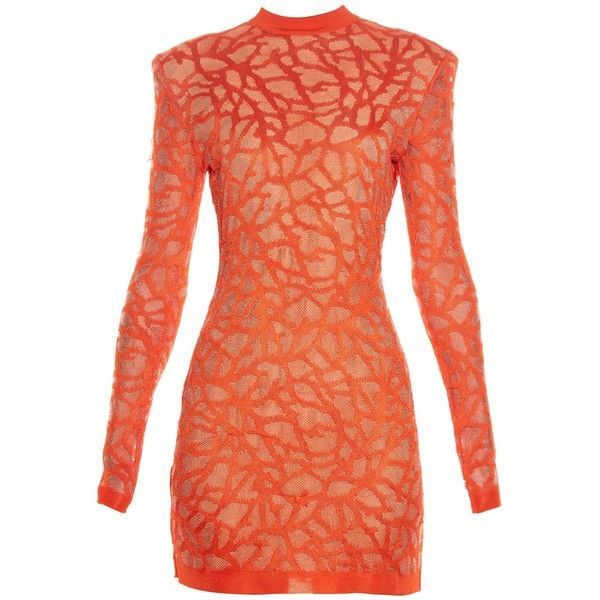 Balmain Coral-effect knit dress ($1,387) ❤ liked on Polyvore featuring dresses, coral red dress, red dress, balmain, sexy coral dress and sexy dresses