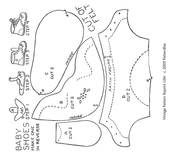 baby shoe pattern with tongue