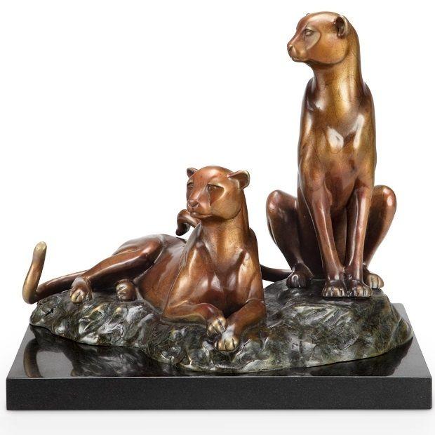 Cheetah Brass Sculpture | Alert | SPI Home | 80338