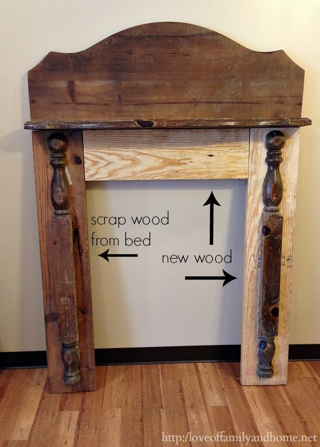 homemade faux fireplace | Love of Family and Home made this mantel with an old headboard and ...