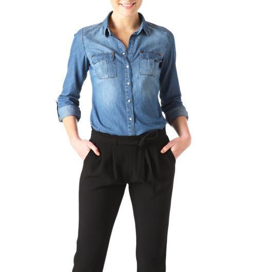 chemise en jean femme style pinterest hauts en denim chemises et jeans. Black Bedroom Furniture Sets. Home Design Ideas