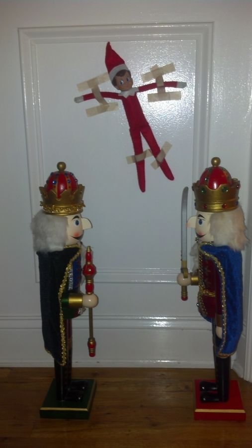 Elf on the Shelf Ideas Noooo! That is so funny and so wrong!Painters Tape, Holiday, Lol Funny, Christmas Elf, Shelves, Nutcrackers, So Funny, Ideas Noooo, Funny Elf On The Shelf Ideas