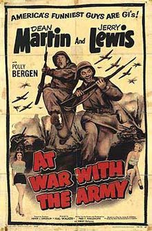 At War with the Army    1958 theatrical reissue poster  Directed byHal Walker  Produced byFred Finklehoffe  Written byJames Allardice (play)  Fred Finklehoffe  StarringDean Martin  Jerry Lewis  Mike Kellin  Jimmy Dundee  Polly Bergen  Release date(s)December 30, 1950