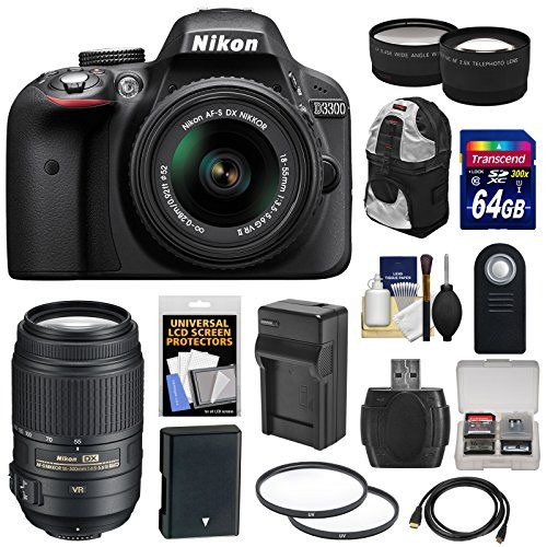 Nikon D3300 Digital SLR Camera & 18-55mm G VR DX II AF-S Zoom Lens (Black) with 55-300mm VR Lens  64GB Card  Backpack  Battery & Charger  Tele/Wide Lens Kit