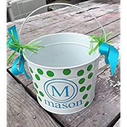 Easter Bucket, Metal 5 quart bucket with monogram and name