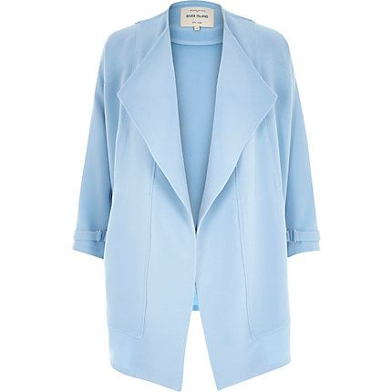 Light blue crepe relaxed fit draped jacket £65 #riverisland #bloggerstyle