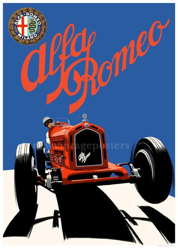 Art Deco Alfa Romeo 8C 2300 poster giclee print