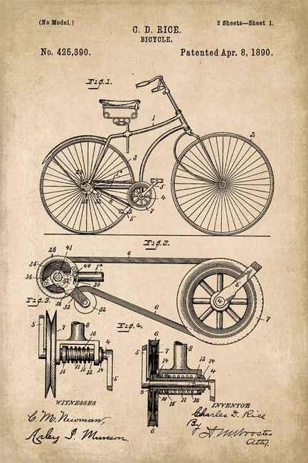 Keep Calm Collection - Bicycle Invention Patent Art Poster Print (http://www.keepcalmcollection.com/bicycle-invention-patent-art-poster-print/)