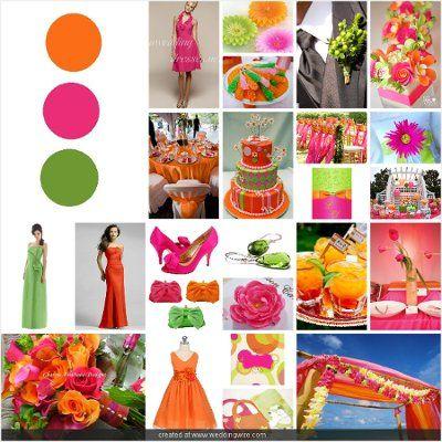 21 Best Wedding Colors Hot Pink Lime Green Orange Red Images On