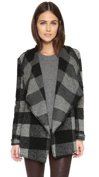 Draped lapels frame the open placket on this cozy BB Dakota jacket. - BB Dakota Ailsa Plaid Drapey Jacket