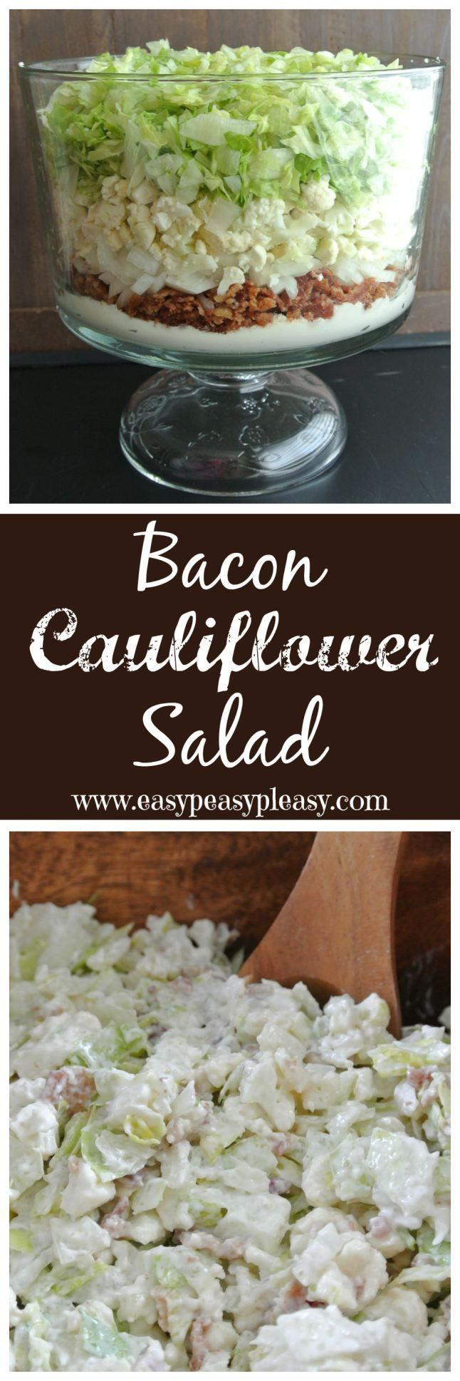 My husband isn't a cauliflower fan but he devours this salad! Bacon Cauliflower Salad is the perfect dish for your next cookout, potluck, or holiday. This salad will feed a crowd and is so delicious!