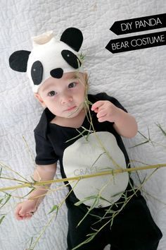 DIY Panda bear baby halloween costume made out of a onesie!