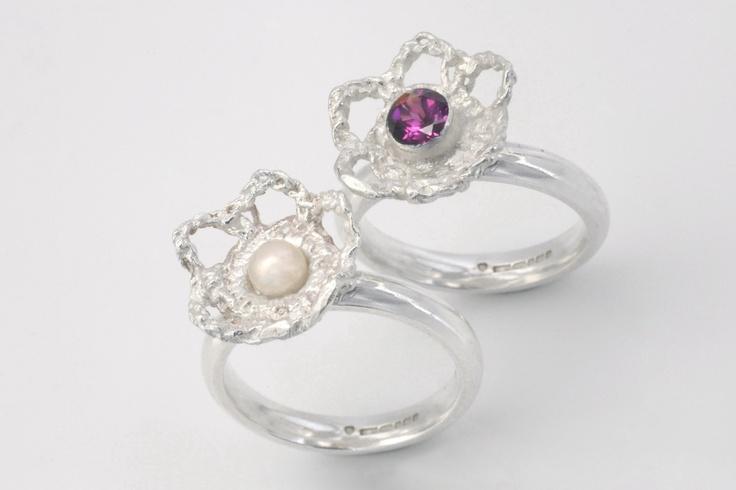 Crochet Flower Rings. Silver, Garnet and Pearl. By Ebba Goring