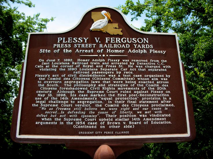 plessy v ferguson analysis Plessy vs ferguson plessy v ferguson , a very important case of 1896 in which the supreme court of the united states upheld the legality of racial segregation.