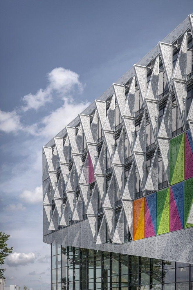 SDU Campus Kolding / Henning Larsen Architects, perf metal sunshades in color
