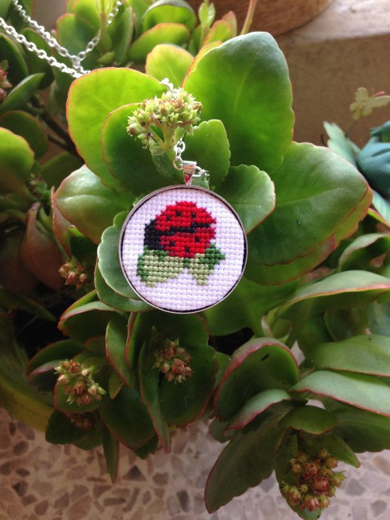 Cross stitch pendant Lady-bug on the flower by PassionedBroderie