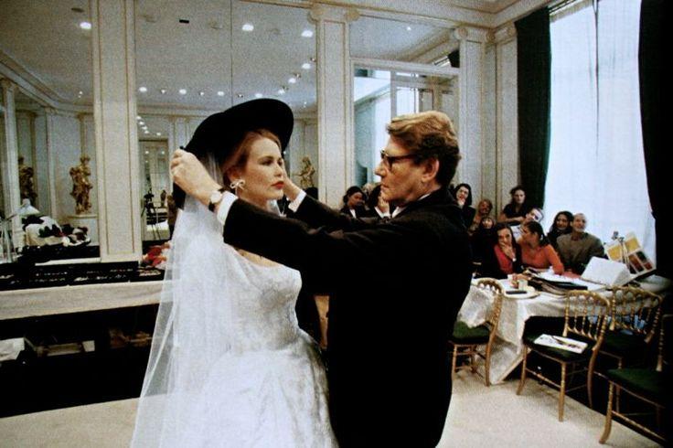 Yves Saint Laurent and Claudia Schiffer
