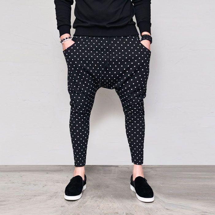 Dot Drop Crotch Ankle Baggy-Sweatpants 355 - GUYLOOK