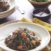 Lamb shank, braised lentils with sweet potato and spinach... Made a ...