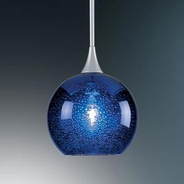 Bruck Lighting   Bobo 120 Pendant Light MP W Blue Bubble Glass