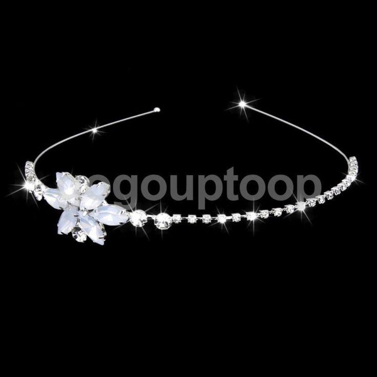 Wedding Party Flower Girl Hair Jewelry Rhinestone Headband Tiara Headpiece