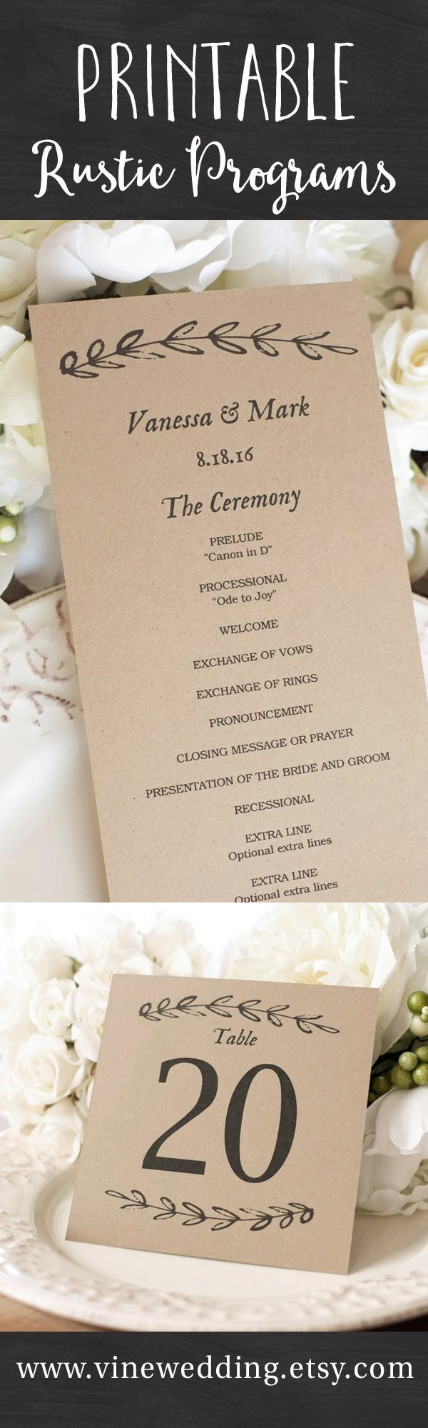 Beautiful rustic wedding programs. Editable instant download templates you can…