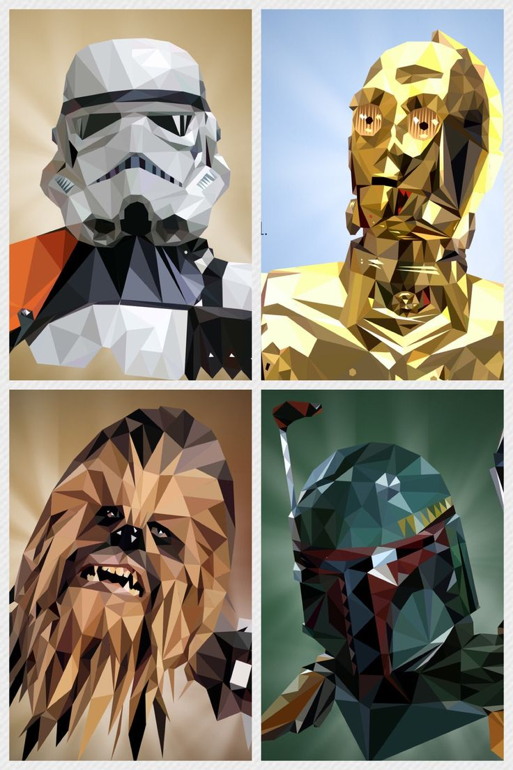 Low poly Star Wars characters.