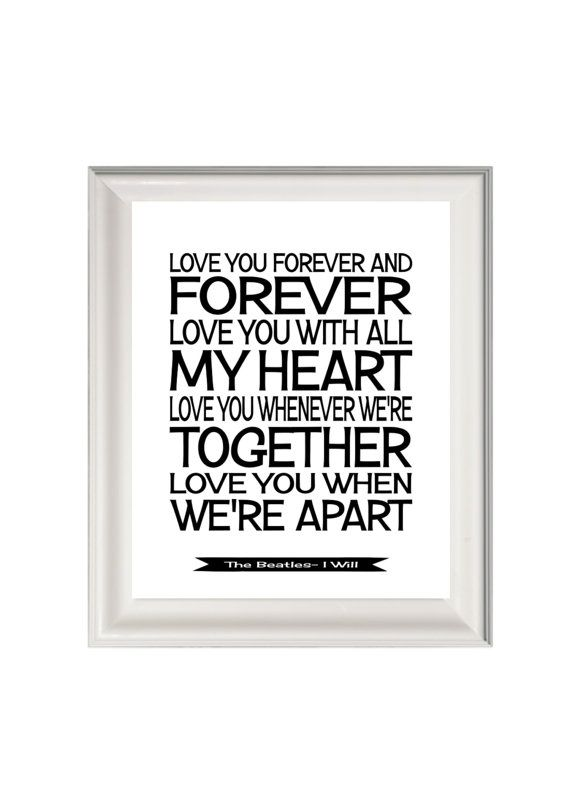 The Beatles Lyrics Song Print I Will Music Art