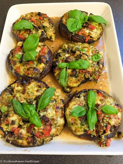 Hiidenuhman keittiössä: Grillatut tai uunissa paistetut italialaisittain täytetyt portobello-sienet