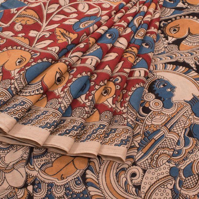Buy online Hand Printed Kalamkari Cotton Saree With Floral & Hamsa Motifs 10009388