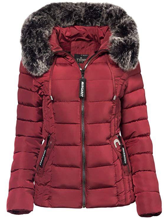 huge discount 67659 a9dc0 Trisens Damen Winter Jacke Pelz Kapuze KURZ Mantel SKI Jacke ...
